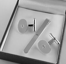 STERLING SILVER DIAMOND CUFFLINKS & TIE SLIDE London Quality Mens Gift RRP£195