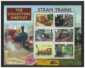 Isle of Man 2019 Steam Trains Collectors Mini Sheet of 6 Stamps In Gift Folder