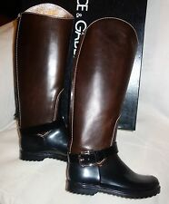 Dolce & Gabbana brown leather and rubber buckle detail riding boots sz 36 new