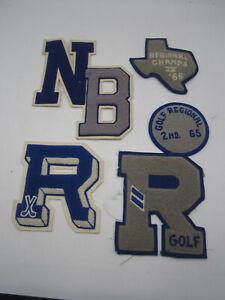 Vintage Varsity Letterman Jacket Letters Patch Sports Golf 1965 1966 Texas
