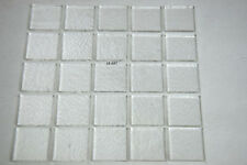 """25 THIN CLEAR 3/8"""" x 3/8"""" SMALL SQUARES OF BULLSEYE GLASS CAPS / TOPPERS 90 COE"""