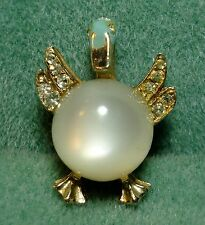 Vintage 1940 White Lucite Moonglow Rhinestone Jelly Belly Duck Bird Pin Brooch