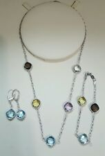 Set of Necklace Braslet & Earrings Silver with Genuine Gemstones