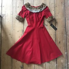 New Stop Staring Red Swing Dress Leopard Print Rockabilly Christmas Pinup S 8