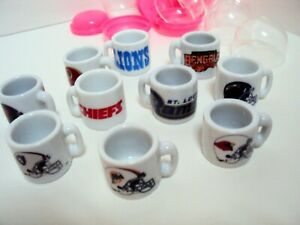 NFL Football Miniature Ceramic Mugs from Bubble Gum Machine Lot of 10
