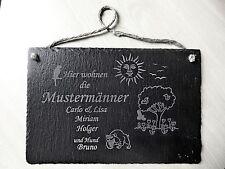 Schiefertafel 30 x 20 cm, Türschild, Namensschild mit Lasergravur