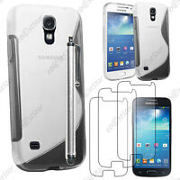 Housse Etui Coque Silicone Transparent Samsung Galaxy S4 Mini + Stylet + 3 Films