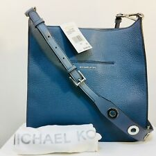 MICHAEL KORS Sullivan Large NS Pebbled Leather Messenger Bag, Denim NWT SRP $348