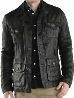 Biker Cafe Racer Black Men vintage Motorcycle distress Real Leather Jacket Coat