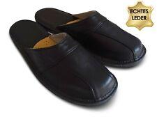 Herren Hausschuhe Pantoffeln Schlappen aus feinem KALBSLEDER Schwarz Gr. 41-46