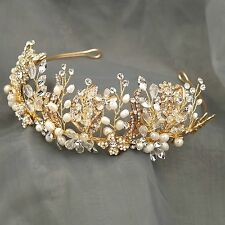Crystal Freshwater Pearl Headband Headpiece Bridal Wedding  Tiara Crown 029 Gold