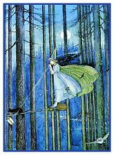 Ida Rentoul Outhwaite Witch on her Broomstick Counted Cross Stitch Pattern Chart