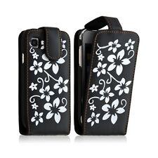 Housse coque etui pour Samsung Galaxy SCL i9003 motif fleur couleur noir + Film