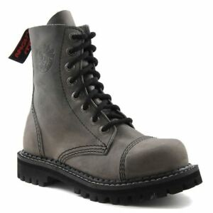 Angry Itch 8 Hole Punk Vintage Grey Leather Army Ranger Boot Steel Toe