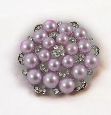 LARGE SILVER PLATED LILAC FAUX PEARL & RHINESTONE CRYSTAL FLOWER BROOCH