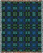 70x53 BLACKWATCH Plaid Blue Green Tapestry Afghan Throw Blanket