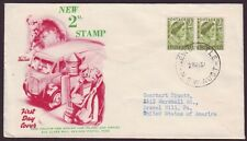 1951 2d QUEEN MOTHER PAIR ON WIDE WORLD FIRST DAY COVER - ADDRESSED (RU0627)