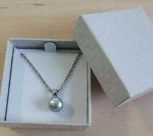Honora Cultured Pearl Pendant Necklace, Silver, 45 cm Stainless Steel Chain.NEW