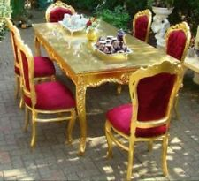 TABLE SET - BAROQUE STYLE ROYAL TABLE SET 6 CHAIRS + TABLE - GOLD / RED # MB8