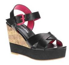 "PASSPORTS MIXED MEDIA WEDGE SANDALS SIZE 10 (3"" HEELS) MEDIUM NEW BLACK"