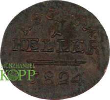 V394) Sassonia Coburg Saalfeld 1 Heller 1824-Ernst I. 1806-1826