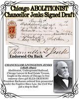 Chicago ABOLITIONIST Chancellor Jenks Ornate Signed 1867 Draft