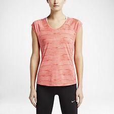 New NIKE Women's Top  Size S/ PRINTED MILER V-NECK WOMEN'S RUNNING SHIRT/tshirt