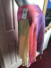 NEW $186 BCBG Max Azria -Womens Silk Chiffon Rainbow Boho Skirt -Size 10