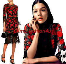 Dolce & Gabbana Crystal Button Macramè Lace Embroidered Red Roses Fringe Dress