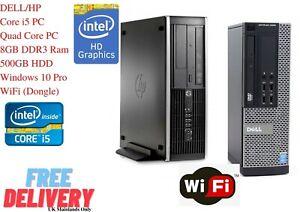 DELL/HP PC COMPUTER QUAD CORE i5 WINDOWS 10 PRO 8GB RAM 500GB HDD WiFi