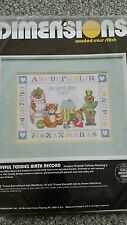 "Dimensions Counted Cross Stitch Playful Teddies Birth Record  12"" × 9"" Free shp"