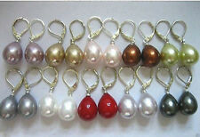 Wholesale 10 Pairs 12x16mm Genuine South Sea Shell Pearl Leverback Earrings