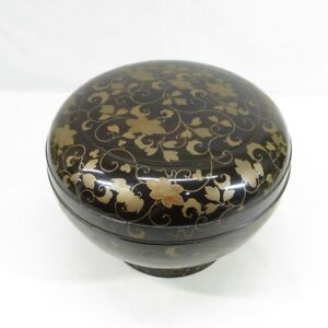 D0713: Japanese real old lacquer ware BIG covered bowl with very good MAKIE