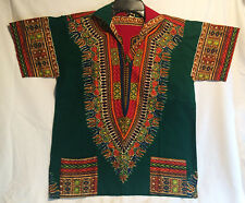 Vintage Hippie Style Shirt Green w/Multi colors Small/Medium