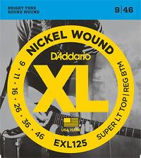 D'ADDARIO Jeu de Cordes électrique EXL125 Super LTHB 9-46 filé rond nickel