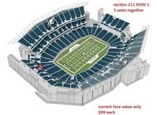 3 PHILADELPHIA EAGLES SBL PSL TICKETS RIGHTS sec 211 row 1 💥💥💥 REAL FIRST ROW