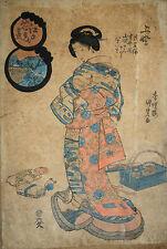 ESTAMPE-JAPON-KUNISADA-GEISHA-XIX eme-ELEGANTE-ENGRAVING-JAPAN-WOMAN-1/2