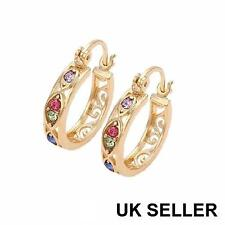 "SALE 9ct 9K "" Gold Filled "" Prom Girl 4 x 20mm Red Stone Hoop Earrings Xmas E646"