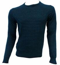 Da Uomo Logoro Lavorato A Maglia DENIM SCOLLO A V Color Blu Navy Maglione-Piccolo