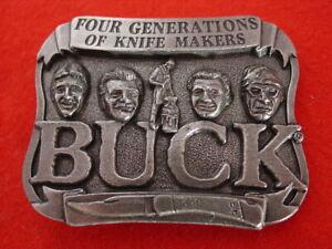 "Buck Knives 2.25""x 3"" Four Generations Knife Makers Belt Buckle MINT"