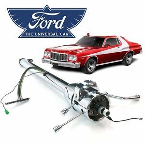 """33"""" Chrome Tilt Steering Column Shift Fits 68-76 Ford Gran Torino 429 C6 V8"""