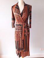 Per Una M&S Size 8 10 Black Orange Aztec Wrap Front Dress Long Tall Autumn