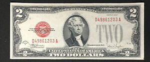 1928 F $2 United States Note FR 1507 CH AU Serial # D49861203A