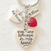 Big Sister Gift Of Love You Are Always In My Heart Silver Charm Keychain