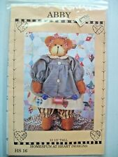"Homespun at Heart Pattern "" Abby "" 12 1/2"" Bear and Clothes....NIP"