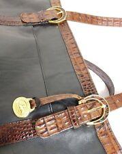 BRAHMIN VINTAGE TUSCAN  COLLECTION BLACK & PECAN MELBOURNE LEATHER SHOULDER BAG
