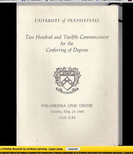 University of Pennsylvania  1968 Commencement Program Donald J. Trump