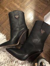 Fendi Cowboy Western Black Croc Logo Pointed Toe Heel Boot Bootie 36.5