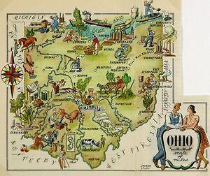 Ohio Antique Vintage Pictorial Map (Postcard size)