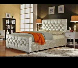 Florida Upholstered Crushed Velvet Fabric Chesterfield Sleigh Bed Frame  F&F DEL